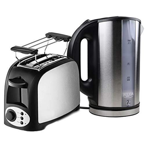 TronicXL 2-Schlitz Toaster 750W mit Brötchen-Aufsatz + Wasserkocher Frühstück-Set Frühstücks-Set - Brot Toast mit Aufwärm- und Auftau-funktion + Automatische Abschaltung Kunststoff + Edelstahl