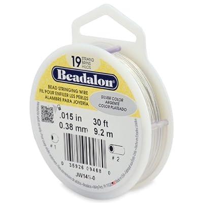 Beadalon 19-Strand Bead Stringing Wire, 0.015-Inch, Silver Color, 30-Feet