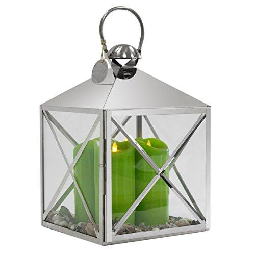 Dekovita Luxus Edelstahl-Laterne mit Griff Gartenlaterne inkl 4 Tronje 23cm LED-Kerzen Grün m Kerzenlichtsimulation