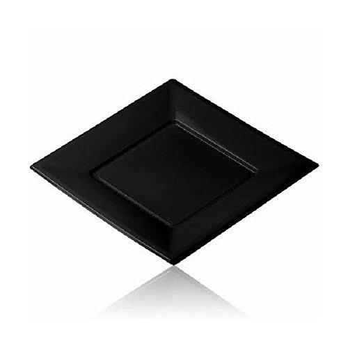 12 grandes assiettes carrées noires jetables PVC souple - 23 cm x 23 cm
