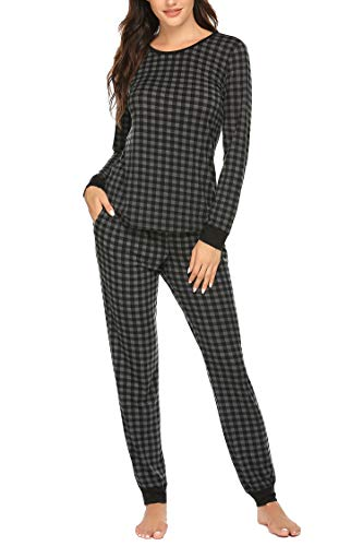 Ekouaer Pajamas for Women Set Plaid Pajama Top and Pant Long Sleeve Two Piece Pajama Set Pattern3 XL