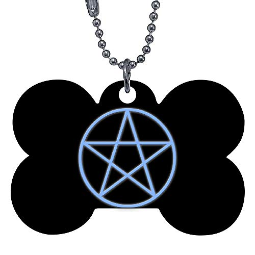 onepicebest Pet ID Tags, Personalized Dog Tags and Cat Tags, Falln Pagan Pentacle Pet Tags - Custom Double Sides Bone Puppy Tag - Stainless Steel