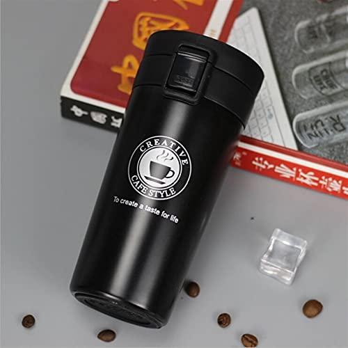 GHJGHJ Taza de Viaje Taza de Acero Inoxidable Termos Tumbler Tazas de vacío Frasco Termo de Agua Taza de té Termocup (Capacity : 380ml, Color : Black)