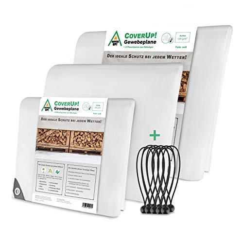 CoverUp! bâche 2 x 3 m [200 g/m2] & 10 tendeurs de bâche , Toile de Protection avec des œillets métalliques pour mobilier de Jardin, Piscine, Voiture, Camion, imperméable et résistante