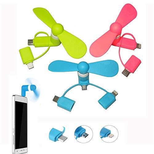 REYOK Lot de 3 Mini téléphones Portables 3 en 1 avec Port USB pour Phone(Rose Bleu Vert)
