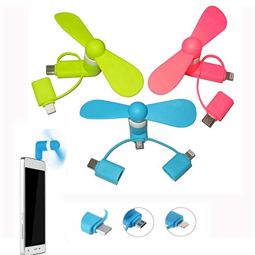REYOK 3Pack Mini Ventilator Fan 3-IN-1 USB Mini Fan Phone Portable Lüfter für iPhone und Android Typ-C, Android Micro-USB Telefone