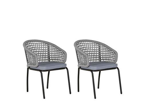 Beliani Gartenstuhl 2er Set grau schwarz modern Palmi