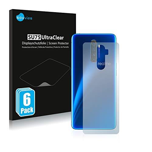 Savvies 6X Schutzfolie kompatibel mit Realme X2 Pro (Rückseite) Bildschirmschutz-Folie Ultra-transparent