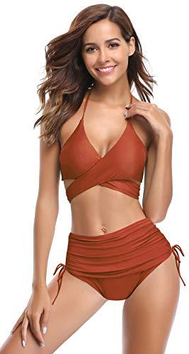 SHEKINI Damen Crossover Dekolletee Bikini Set Sexy V Ausschnitt Push Up Neckholder Bikinis Bauchweg Raffung Seiten zum Binden Hose Rückenfrei Zweiteiliger Strandbikini
