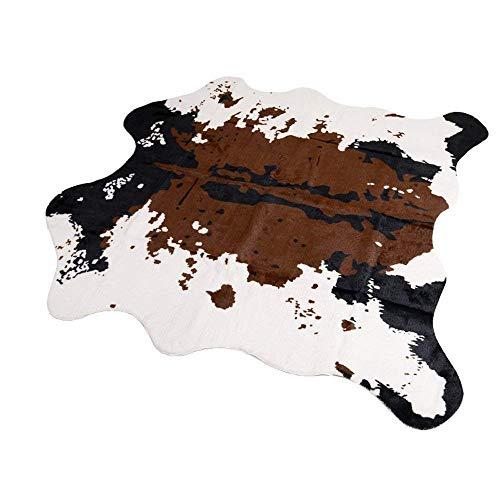 Tapis en fausse fourrure de mouton - Tapis moelleux en fausse fourrure - Housse de chaise - Pour chambre à coucher ou canapé, Fourrure synthétique, Cow-brown, 140x160cm