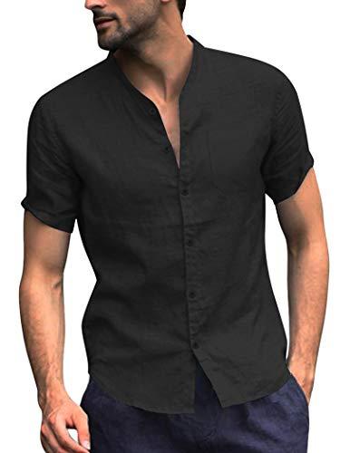 COOFANDY Men's Regular Fit Linen Cotton Shirt Short Sleeve V Neck Button Down Summer Shirt (Large, Black)