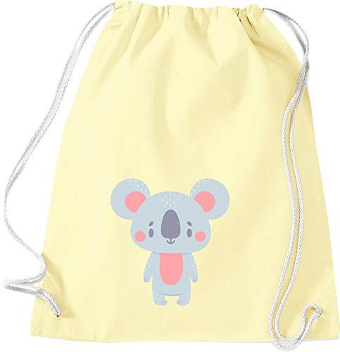 Kleckerliese Sac de gym en tissu pour enfant avec inscription en allemand « Tiermotiv », motif animaux koala, jaune pastel