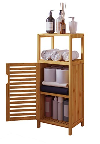VIAGDO Small Bathroom Cabinet Freestanding Bamboo Storage Cabinet Multifunctional Bathroom Storage Organizer Rack Stand