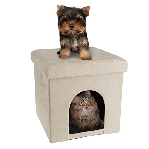 PETMAKER Pet House Ottoman- Collapsible Multipurpose Cat or Small Dog Bed Cube & Footrest with Cushion Top & Interior Pillow (Microsuede Tan)