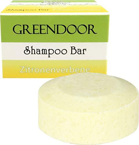 Veganer Greendoor Shampoo Bar Zitronenverbene 75g, festes Haarshampoo ohne Sulfate, Naturkosmetik Bio Sheabutter Bio Brokkolisamenöl Aloe Vera, mit ätherischen Ölen, natürliche Haar-pflege Haare