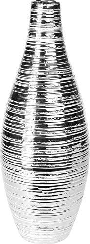 Koop 37cm Alto Elegante Bottiglia Vaso a Strisce Argento da Tavolo in Ceramica Vaso di Fiori