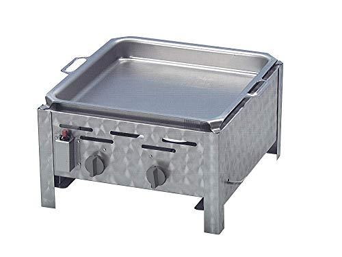 Gasgrill 2-flammig mit 7,3 KW regelbar aus Edelstahl mit Grillpfanne als Tischgerät komplett mit Gasschlauch Regler für Flüssiggas ideal für Privat Verein Gewerbe in top Qualität Qualität