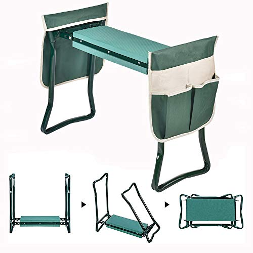 Garden Kneeler and Seat2in1 Folding Stool with 2 Large Tool Pouches Portable Eva Foam Kneeling Pad Heavy Duty Load 330 Lbs for Gardening A