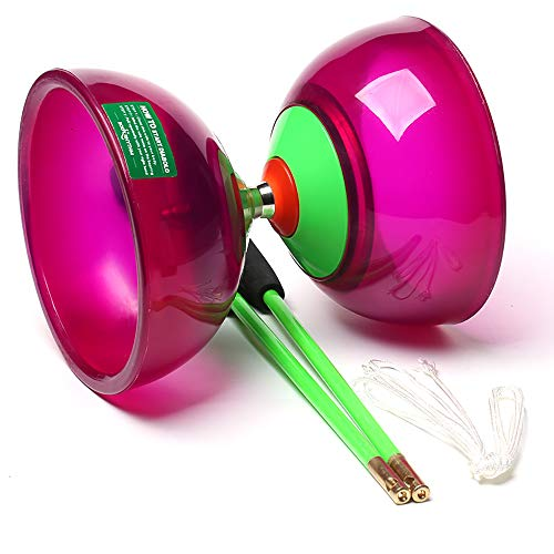 Body Rhythm Five Bearings Chinese Diabolo Yoyo Set with Fiberglass Sticks-Adjustable Strings for All Ages - Best for Fitness and Tricks (Purple)