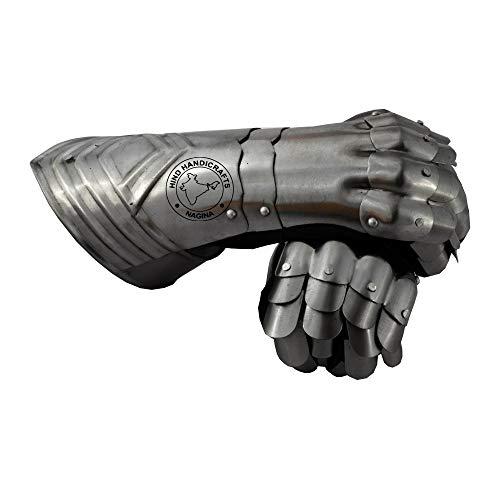 Hind Handicrafts Guantes articulados de caballero medieval armadura de acero – Par de 2 – Forro de cuero ajustable – LARP, Halloween y dramas – Acento plateado