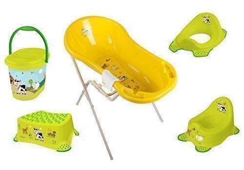 7er Set de l'herbe Pad Funny Farm vert Baignoire XXL 100 cm + Support de baignoire+Casserole+rehausse wc + TABOURET+Couches+Gants de lavage