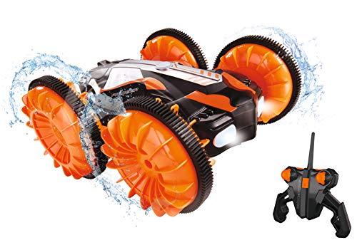 Dickie Toys RC Amphibious Flippy, RC Auto, Amphibienfahrzeug mit Flipfunktion, fährt auf Wasser und Land, bis zu 10 km/h, wasserfest, Licht, USB Ladefunktion, 22 cm, orange, ab 6 Jahren