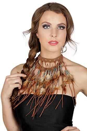 shoperama Collar indio grande con plumas, perlas y flecos, collar cuadrado indio, para hombre y mujer