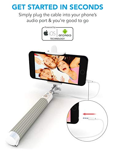 Premium 5-In-1 Wired Selfie Stick For iPhone 6, 5, Samsung Galaxy S9, S8, S7, S6, S5 - Takes Selfies In Seconds, Get Perfect HD Photos, Operates Flash - No Apps, No Downloads, No Batteries Required