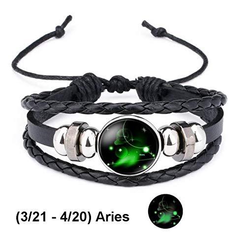 Armband sieraden Lichtgevende 12 Sterrenbeeld Sterrenbeeld Zwart Gevlochten Lederen Armband Kanker Leo Maagd Weegschaal Drukknoop Armbanden Voor Manne