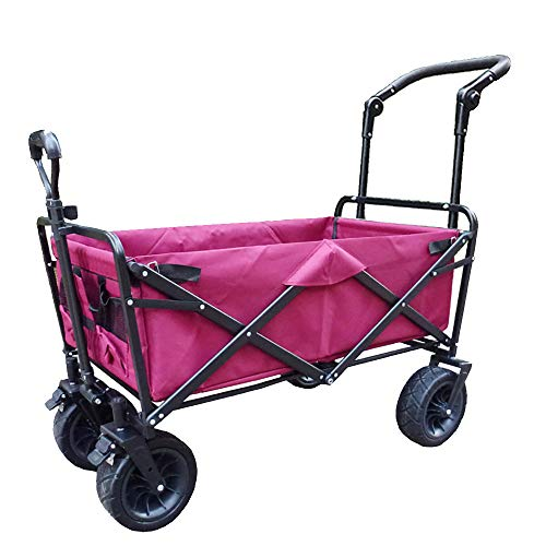 CHHBOXCHH Strandwagen/Bollerwagen Faltwagen/Folding Wagon Outdoor 90 kg Tragkraft - Ausziehbarer Griff - 360° Räder Platzsparend faltbar,Pink