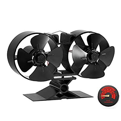 2020 Upgrade Heat Powered Log Burner Fan - 8 Blade Silent Wood Burner Fans - Double Motor - Small Size Fire Fans for Fireplace, Wood/Multi Fuel Burner - Specially for Large Room