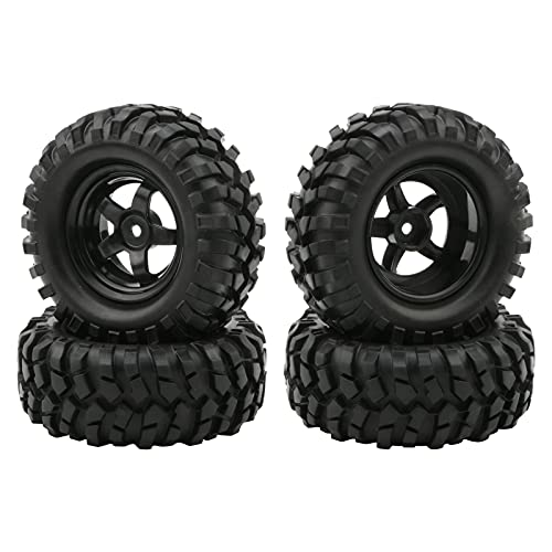 Buggy Rubber Tires + 5 Spoke Wheel Rim for RC HSP 1:10 Off-Road Pack of 4