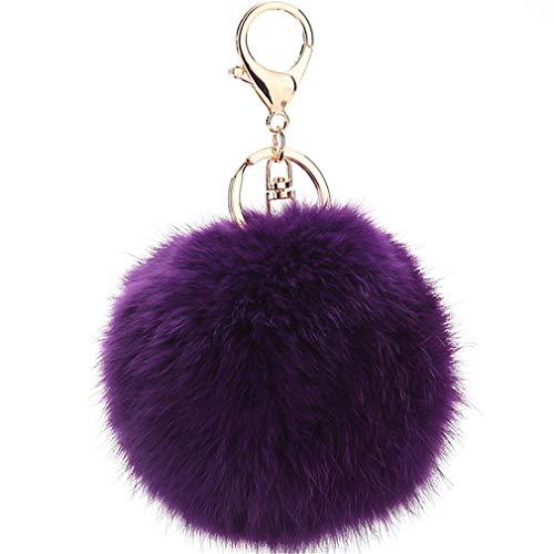 Schlüsselanhänger plüsch Ball Keychain Elegant Plüsch-Kugel Auto-Anhänger Taschenanhänger bommel Pompom Weich Schlüsselring Handtaschenanhänger Dekor (Lila)