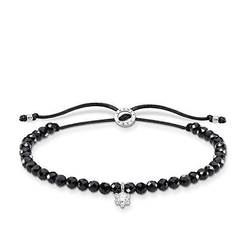 Thomas Sabo Armband schwarze Perlen mit weißem Stein, 925 Sterlingsilber, 13-20 cm Länge