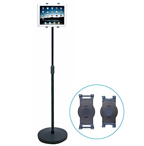 AIDATA Height Adjustable 360 Degree Rotating Tablet Floor Stand for Home and Business - Fits All iPad Models and Most Other 6-13.5 Inch Tablets - iPad Floor Stand, iPad Pro Floor Stand, iPod Mini Floor Stand (With 2 Brackets)