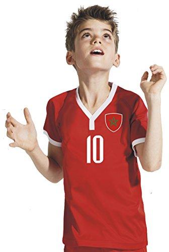 Aprom-Sports Marokko Kinder Trikot - Hose Stutzen inkl. Druck Wunschname + Nr. RGR WM 2018 (152)
