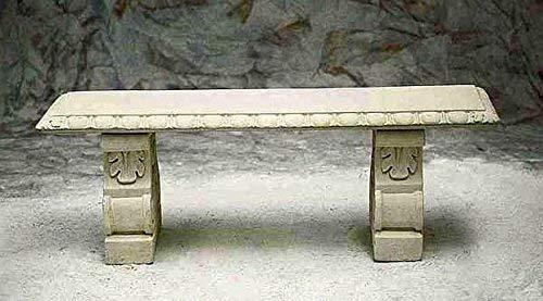 pompidu-living - Steinbank mit Säulen für den Garten - Aus witterungsbeständigem Steinguss - Wetterfeste Gartenmöbel Sitzbank in Sandstein, 46x134x38cm