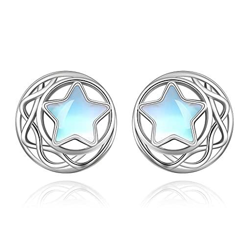 Celtic Moon Star Moonstone Earrings Sterling Silver Stud Earrings Moonstone Jewelry for Women Hypoallergenic Earrings for Sensitive Ears