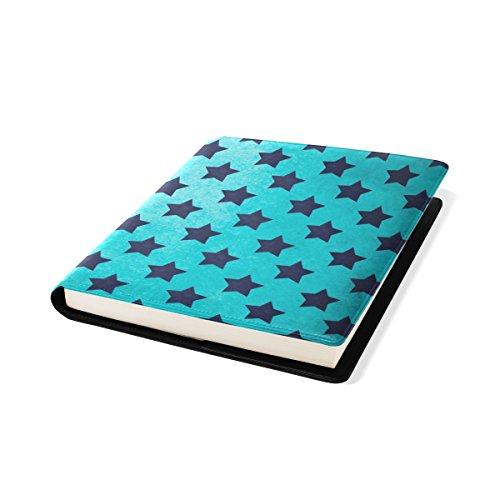 COOSUN Textures Bleu Motif étoile Vintage Book Cover Sox Stretchable Livre, La Plupart des Fits Relié jusqu'à 9 manuels x 11. adhésif Gratuit, PU Leather School Book Protector 9 x 11 Pouces Multicol