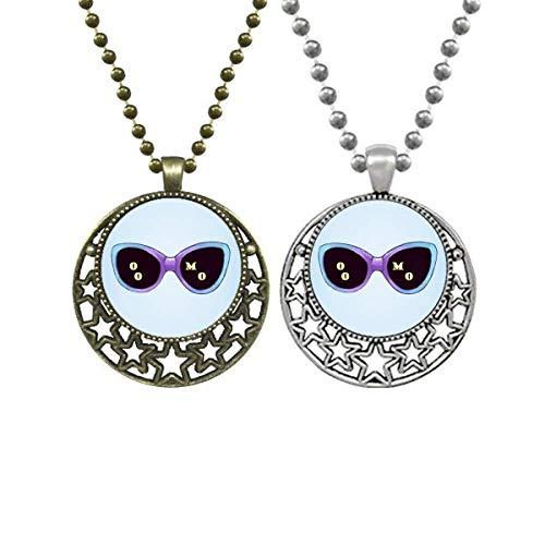 Colorizado ilustración patrón gafas de sol amantes collares colgante retro luna estrellas joyería
