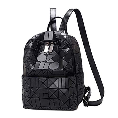 Mochilas De Las Señoras Bolsa De Viaje Bolsas Para Mujer Bolsas De Geometría Con Láser Rhombus Symphony Mochila(Size:23 * 12 * 29CM,Color:Negro)