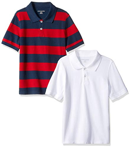 Amazon Essentials Toddler Boys Uniform Short-Sleeve Pique Polo Shirts, 2-Pack Navy & Red Rugby/White, 3T