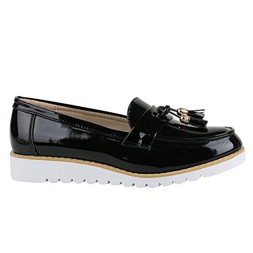 stiefelparadies Damen Lack Slipper Loafers Metallic Quasten Profilsohle Schuhe 139080 Schwarz Weiss 39 Flandell