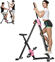 Wesoky Vertical Climber, Folding Exercise Climbing Machine Stepper Cardio Workout Training Non-Stick Grips Legs Arms Abs Calf (a_Pink)