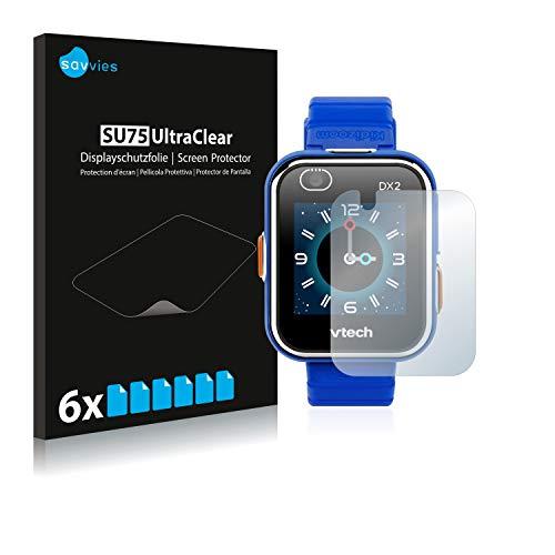 Savvies 6X Schutzfolie kompatibel mit Vtech Kidizoom Smart Watch DX2 Displayschutz-Folie Ultra-transparent