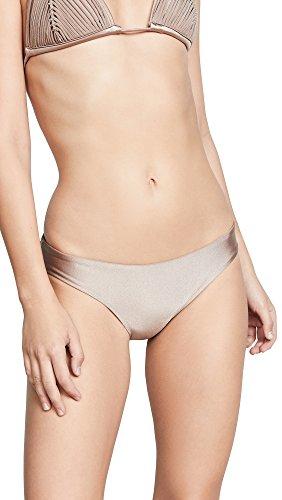 PilyQ Women's Tan Basic Ruched Bikini Bottom Teeny Swimsuit, Sandstone, M