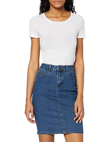VERO MODA Damen VMHOT Nine HW DNM Pencil Skirt GA NOOS Rock, Blau (Medium Blue Denim Medium Blue Denim), M