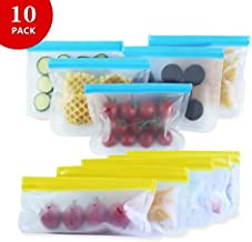 DALNOS Reusable Storage Bags 10 Pack - (5 Sandwich Bags & 5 Snack Bags), Extra Thick, BPA Free, FDA Grade Material, Leakproof Ziplock Lunch Bags for Food Storage Home Organization Travel Makeup