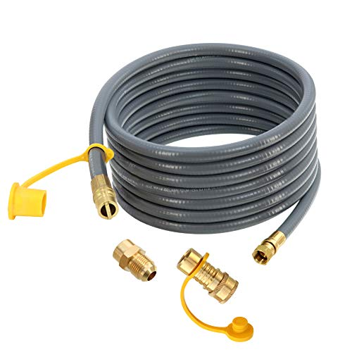 Upgraded 24 Feet 1/2 Inch ID Natural Gas Hose with 3/8 Inch Female Flare by 1/2 Inch Male Flare Adapter, 1/2 Inch Bell Mouth Fittings,Quick Connect Disconnect, for Natural Gas,Propane Equipment - CSA