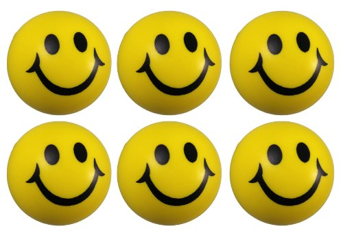 6 Stück Smiley Knautschball Antistressball in Gelb Softball Schaumstoff